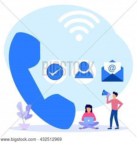 Flat Style Vector Illustration. Contact Person On Communication Device. Contact Us, Landing Page. Co