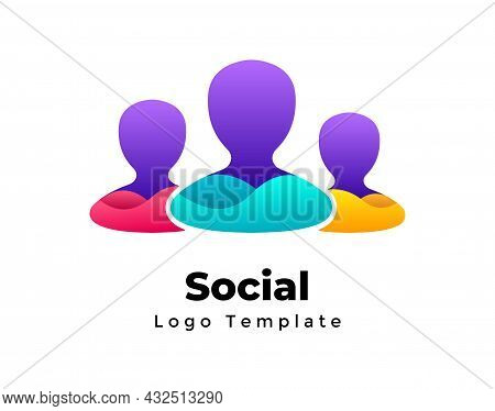 Group Of People. Creative Vector Teamwork Logo Template. Abstract Business Team Sign. Family Symbol.