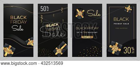 Black Friday Sale Vertical Banners For Social Media Cover. Screen Backdrop Stories And Posts, Mobile