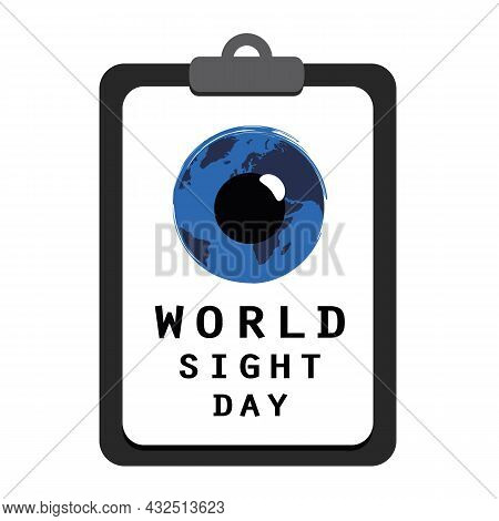 World Sight Day Blue Eye On A Clipboard With Vision Test