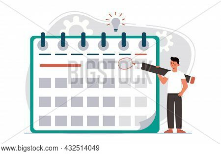 Manager Planning Event Landing Page In Flat Style. Man With Pencil Appointing Date Of Event And Maki