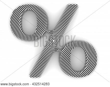 Percent Symbol Made On A White Surface. Minimalistic Graphic Design Background. 3d Illustration