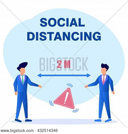 Modern Style Vector Illustration. Social Distancing And Covid-19 Prevention: Maintain A Safe 2 Meter