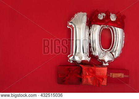 Foil Balloons With Number 10 Ten Red Background