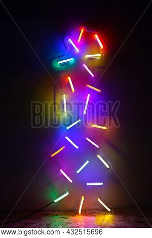 Multicolored Neon Sign Confetti . Trendy Style. Neon Sign. Custom Neon. Party Concept. Holiday.
