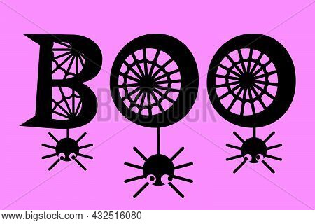 Funny Spiders Hanging On Letters. Boo Word With Spider Web