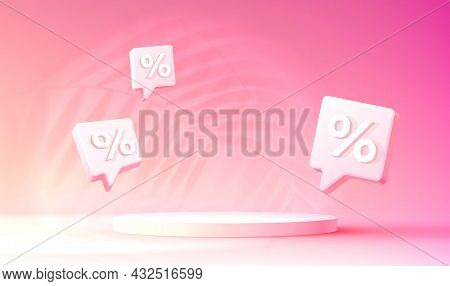 Stage Podium Percent, Stage Podium Scene With For Award, Decor Element Background. Vector