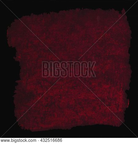 Burgundy, Red Color Like Blood On Black Paper, Background, Dry Pastel, Gothic Style With The Inscrip