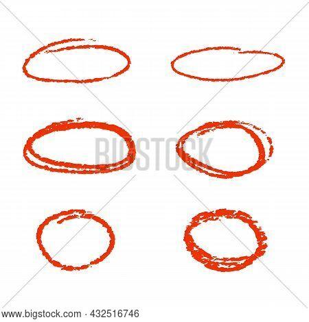 Red Marker Pen Highlighter Circles. Vector Illustration