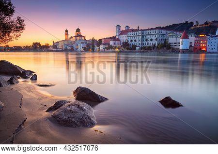 Passau Skyline, Germany. Cityscape Image Of Passau Skyline, Bavaria, Germany At Dramatic Sunset.