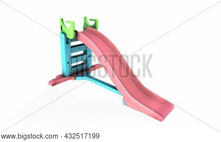 Metal Children's Slide Isolated On White Background. View At An Angle. 3d Rendering.