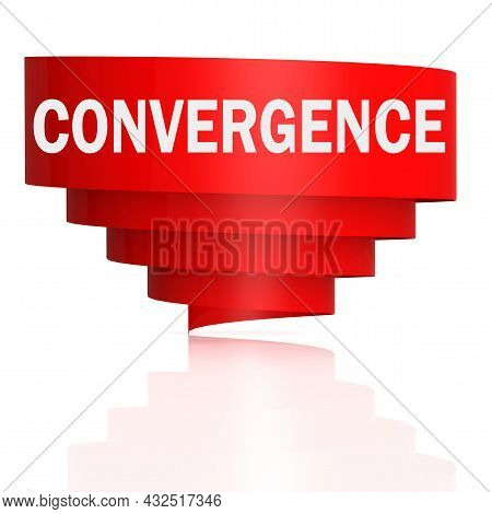 Convergence Word With Curve Banner, 3d Rendering