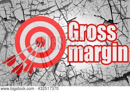 Gross Margin Word With Red Arrow And Board, 3d Rendering