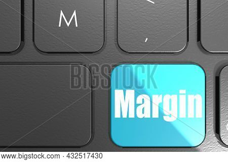 Margin Word On Square Keyboard Button, 3d Rendering