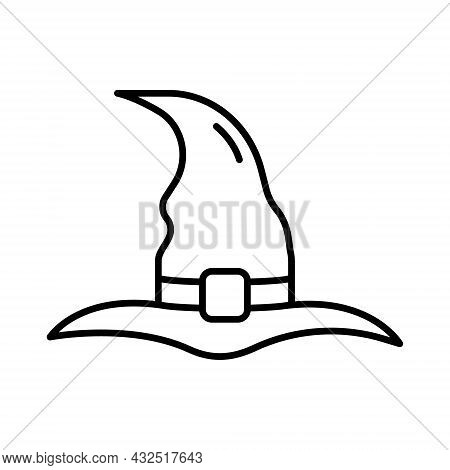 Black Witch Hat For Halloween Line Icon. Wizard Magic Pointy Cap For Party 31 October Pictogram. Acc