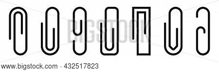 Paper Clip Icons Set. Black Paperclip Collection. Attach Symbol. Document Staple Icons