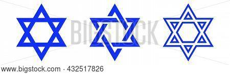 Star Of David. Shield Of David. Jewish Star. Israel Emblem. Outline And Glyph