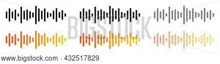 Audio Message Wave. Voice Message Wave Set. Frequency Music Symbol. Pulsing Line In Gradient.