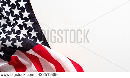 American Flag Isolated On White Background. Banner Mockup For Columbus Day, Us Independence Day, Mem