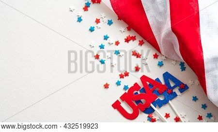 Happy Presidents Day Banner With American Flag And Confetti Stars On White Background. Usa Independe