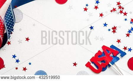 Happy Presidents Day Concept. Grosgrain Ribbon And Confetti Stars On White Background With Copy Spac