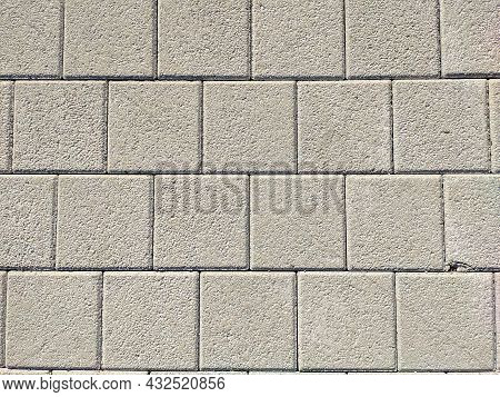 Background And Texture Of Gray Color From Square Paving Slabs. Pedestrian Street Decor.