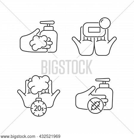 Hand Hygiene Linear Icons Set. Wash With Brick Soap. Antimicrobial Skin Cleanser. Scrub Hands Durati