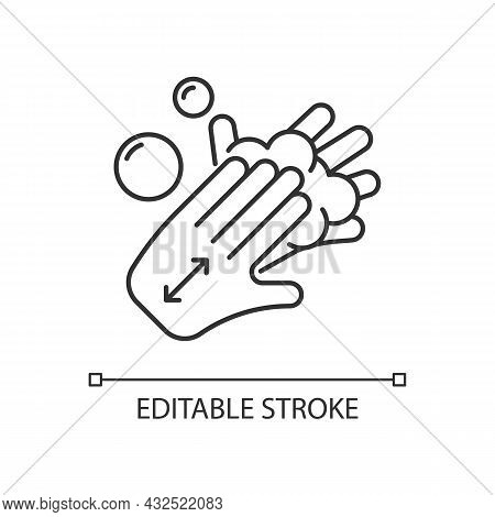 Lathering Back Of Hands Linear Icon. Rubbing Hands Together With Soap. Proper Handwashing Step. Thin