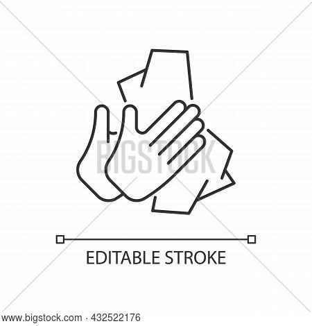 Dry Hands With Tissue Linear Icon. Wiping Off Dirt And Germs From Palms. Use Antibacterial Wipes. Th