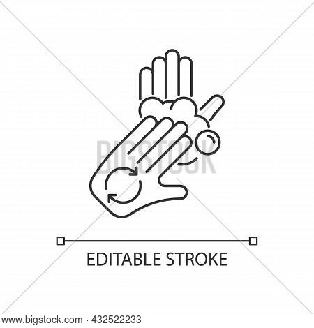 Rub Palms With Fingers Linear Icon. Regular Handwashing. Covering Hands With Soap Lather. Thin Line