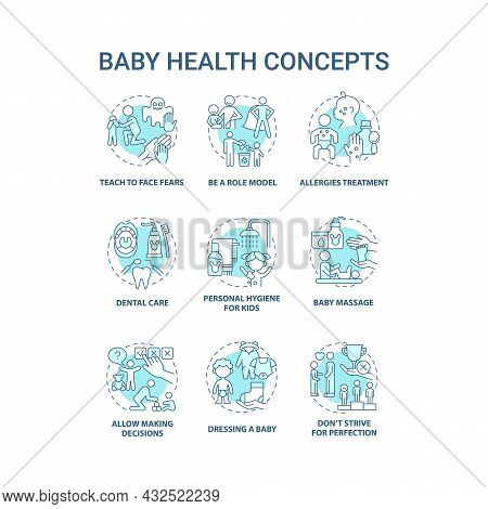 Baby Health Blue Concept Icons Set. Infant Care Idea Thin Line Color Illustrations. Bringing Up Baby
