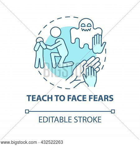 Teach To Face Fears Blue Concept Icon. Support Kid Abstract Idea Thin Line Illustration. Help Child