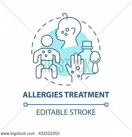 Allergies Treatment Blue Concept Icon. Allergy Reaction Relief Abstract Idea Thin Line Illustration.