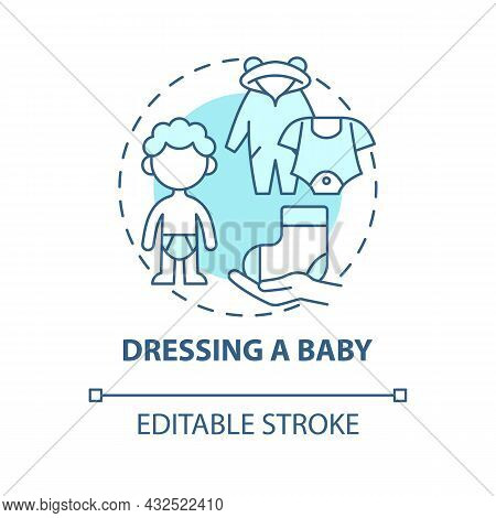 Dressing Baby Blue Concept Icon. Change Baby Clothes Abstract Idea Thin Line Illustration. Child Car