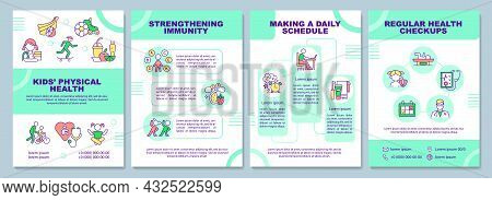 Kids Physical Health Brochure Template. Regular Medical Checkup. Flyer, Booklet, Leaflet Print, Cove