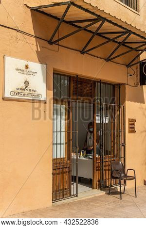 Sineu, Spain; September 08 2021: Information Office Of The City Council Of Sineu Belonging To The Co