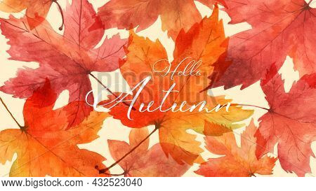 Abstract Art Autumn Background With Maple Leaves Watercolor. Watercolor Hand-painted Art Design Perf