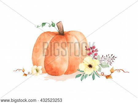 Autumn Watercolor Illustration With Pumpkins And Flowers Leaves Isolated On White Background. Waterc
