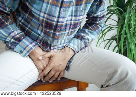 The Concept Of Prostate And Bladder Problem, Crotch Pain Of A Young Person