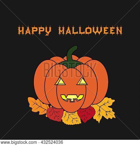 Happy Hallowen Phrase. Orange Pumpkin Lighted Inside On The Autumn Leaves. Vector Illustration In Ol