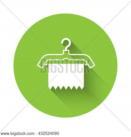 White Hanger Wardrobe Icon Isolated With Long Shadow. Clean Towel Sign. Cloakroom Icon. Clothes Serv