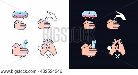Proper Handwashing Light And Dark Theme Rgb Color Icons Set. Hand-drying Method. Wetting Hands With