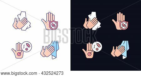 Infection Prevention Light And Dark Theme Rgb Color Icons Set. Wiping Off Dirt, Germs. Dry Hands Wit