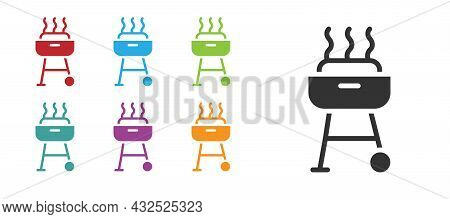 Black Barbecue Grill Icon Isolated On White Background. Bbq Grill Party. Set Icons Colorful. Vector