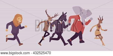 Animal Lion Chasing In Anger Elephant, Deer, Roe And Horse. Pursue To Catch, Angry Crying Business M