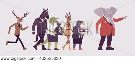 Animals, Elephant Showing Way For Crocodile, Roe, Gull, Deer, Horse. Dressed Up Gentleman With Large