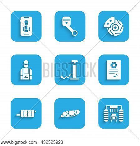 Set Car Air Pump, Headlight, Wash, Auto Service Check Automotive, Muffler, Mechanic, Brake Disk With