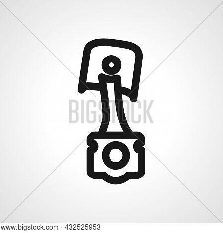 Car Piston Vector Line Icon. Car Piston Linear Outline Icon.