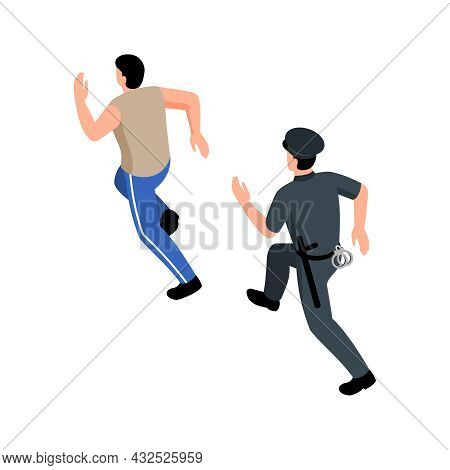 Male Police Officer With Handcuffs And Baton Running After Man Isometric Vector Illustration