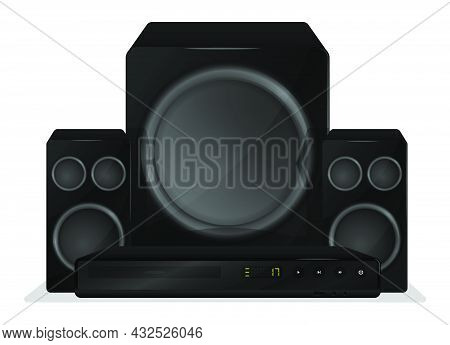 Realistic Home Theater With Speakers. Premium Home Cinema Equipment. Isolated On White Background